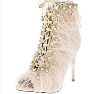 Shoes - New! Nude Pearl Feather LaceUp Stiletto Ankle Boot